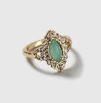 Green stone set ring