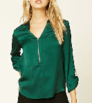 Green Stain Zip Front Top