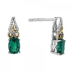 Created Emerald & Diamond Earrings