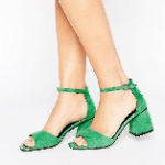 Lost Ink Maci Green Mid Heeled Sandals