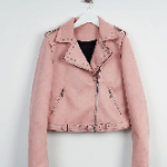 Pink Suede Biker Jacket
