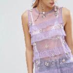 ASOS Top in Mesh With Ruffles & Pearl Embellishment