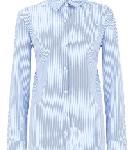 Blue and White Stripe Cotton Pearl Detail Shirt