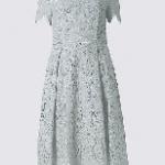 Cotton Blend Lace Skater Midi Dress