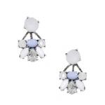 Pearl & Blue Statement Stone Earrings