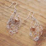 Knitted fresh water pearl earrings