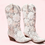 White Crochet Lace Cowgirl Boots