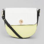 green colour block saddle bag