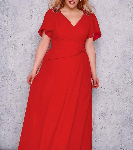 Red Chiffon Maxi Dress With Embellished Shoulders