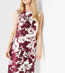 Burgundy Online Exclusive Satin Printed Dress