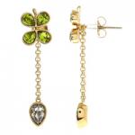 Green & Gold Tone Clover Drop Earrings