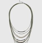 Khaki Cord Multirow Necklace