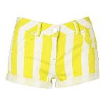 lime stripe denim shorts