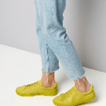 Lime green suedette trainers