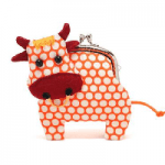 Taurus Little friendly orange cow clutch purse
