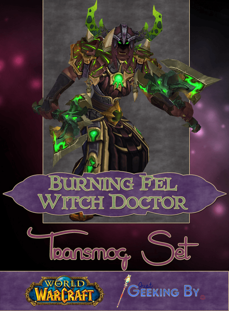 Pin This - What would happen if a Shaman ever became infused with Fel? Much like the dark shamans we saw in Siege of Orgrimmar this Transmog set is much darker than the usual shaman sets and is based around hues of deep red and fel green. Click here to see the full set.