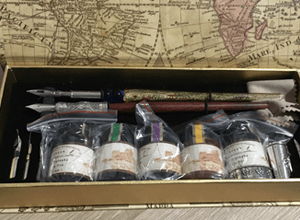 The inside contents of the calligraphy set