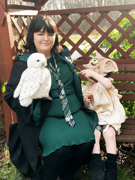 Slytherin student cosplay, givtastic4, and her adorable son, Killian, cosplaying as Dobby.