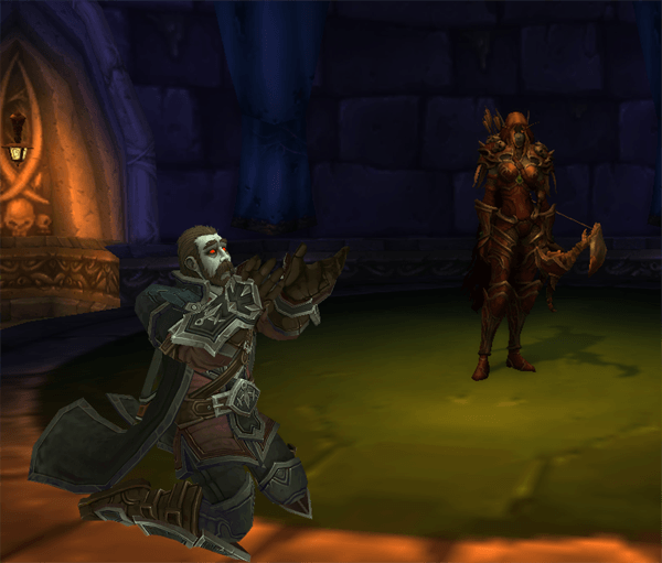 Nathanos on his knees begging Sylvanas during his performance.