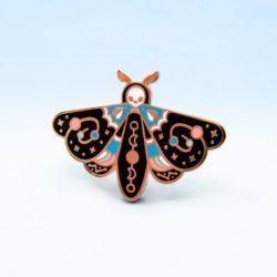Blue Interstellar Moth Enamel Pin