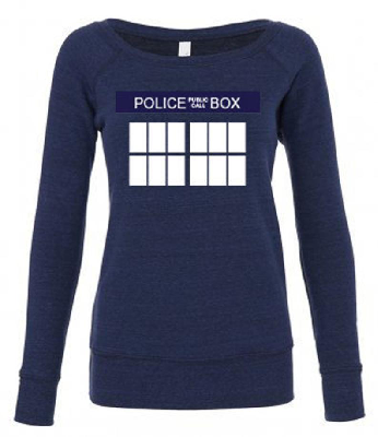 Doctor Who TARDIS wide neck sweatshirt by Geekerella