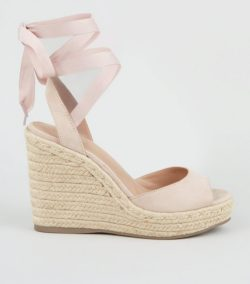 Pale Pink Suedette Ankle Tie Woven Espadrille Wedges