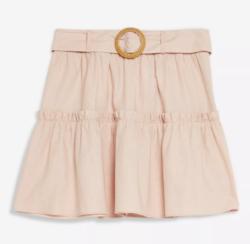Pink Linen Blend Tiered Mini Skirt