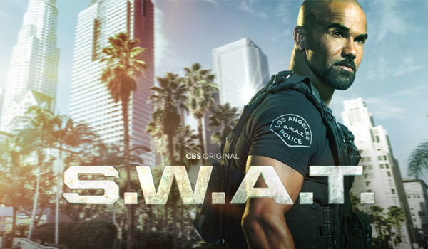Geeking by in June 2021 - I've been watching S.W.A.T. Season 4. A black man in a police officers uniform stands against a backdrop of an American City. The image reads: CBS Original S.W.A.T