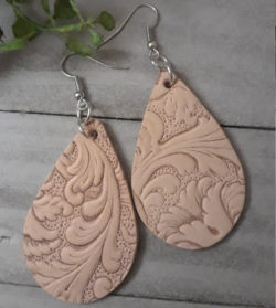 Tan Textured Faux Leather Earrings