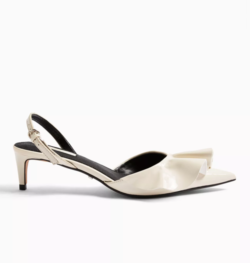 White Frill Slingback Heels