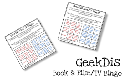 "GeekDis Book & Film/TV Bingo. Next to two bingo cards black text reads ""GeekDis Book & Film/TV Bingo""."