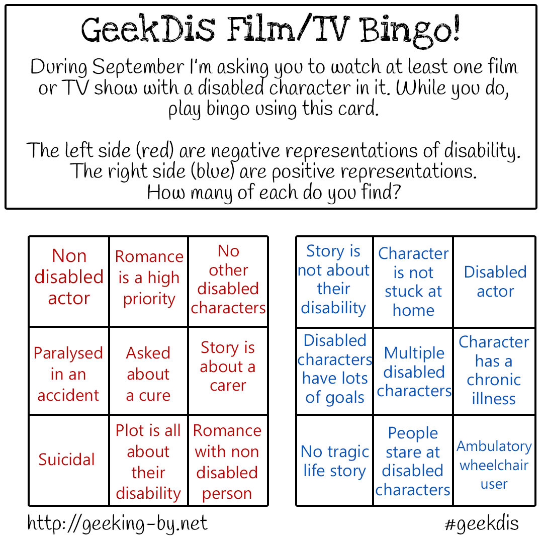 GeekDis Book & Film/TV Bingo! - GeekDis Film and TV Show Bingo!  During September I'm asking you to you to watch at least one film or TV show with a disabled character in it. While you do, play bingo using this card. There is a list of negative representations of disability and a list of positive representations.  How many of each do you find?