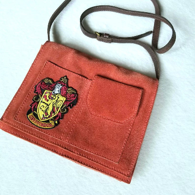 Gryffindor Hogwarts Inspired upcycled suede purse by LoveGeekChic