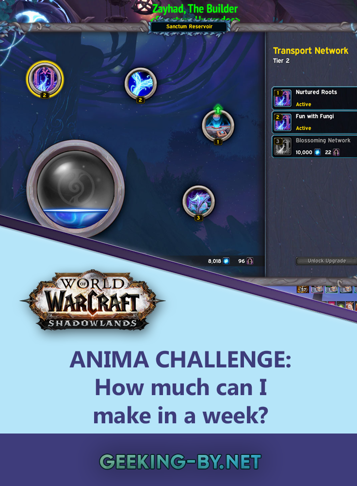 Shadowlands Anima Challenge: How much can I make in a week? - I challenged myself to an anima challenge in World of Warcraft Shadowlands; how much could I make in a week as a disabled player? Come see how I did!