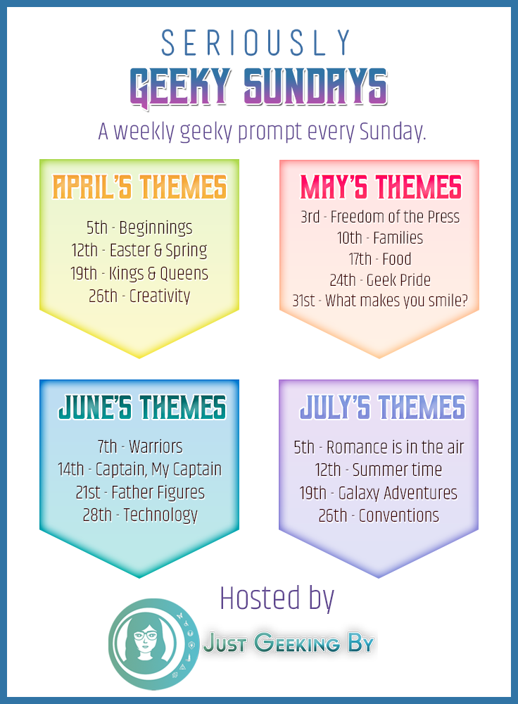Seriously Geeky Sundays Themes: April to July. Seriously Geeky Sundays is a weekly geeky themed prompt for bloggers starting in April 2020. Explore your geekiness by answering 6 questions every Sunday.